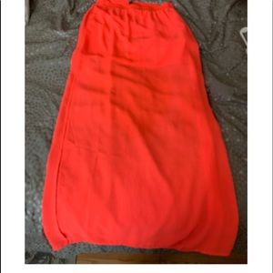 H&M neon orange maxi skirt with slit in side.